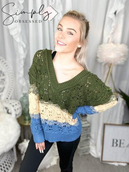 POL - Long sleeve color block striped knit v-neck sweater