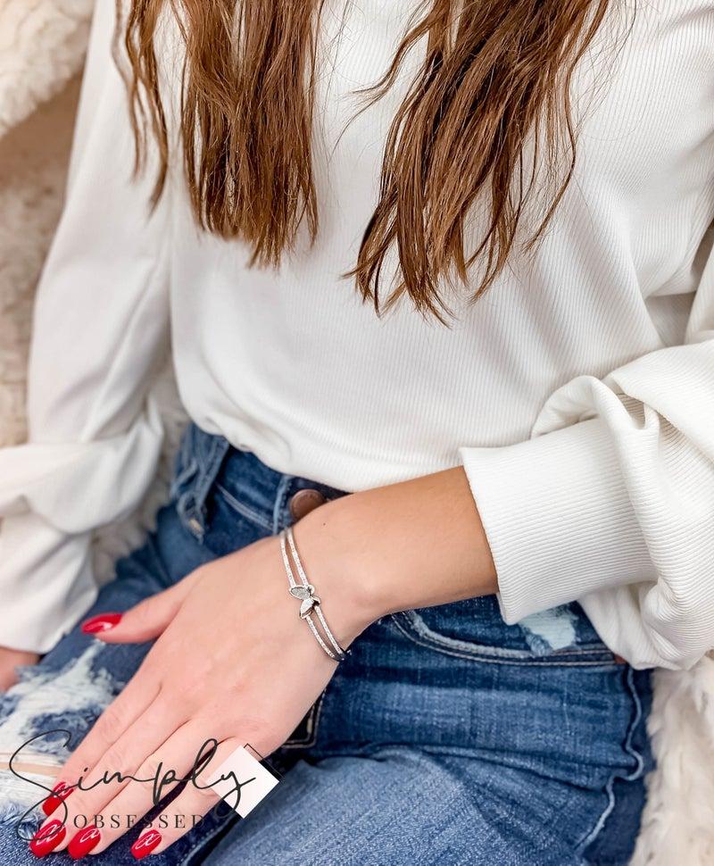 NYJ - Butterfly w/ Rhinestones Closed Cuff Bracelet