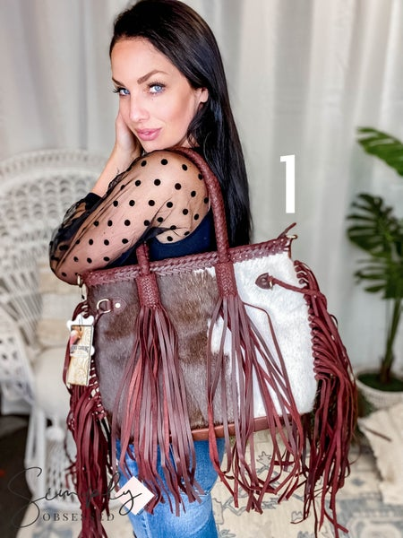 American Darling - Genuine Leather Handbag w/Extreme Tassel Detail and Braided Stitching