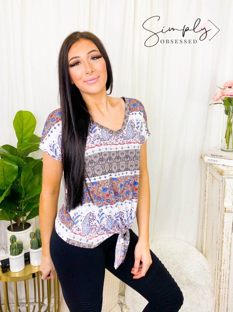 Hailey & Co - Short sleeve v neck front knot detail bulgari print top