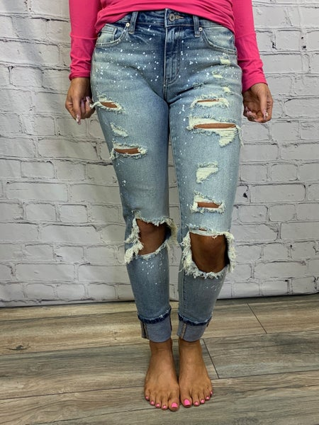 KanCan- High rise folded super skinny classic distressed jeans with paint splash detail