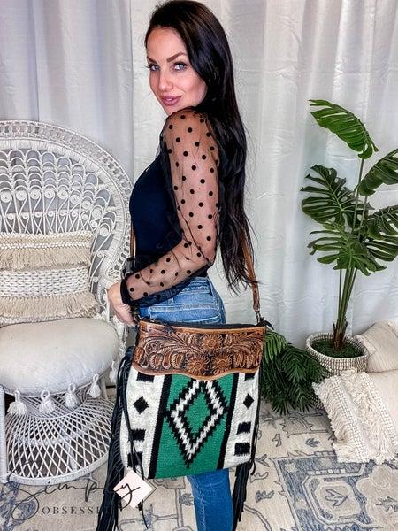 American Darling - Aztec Blanket Crossbody Bag W/Fringe
