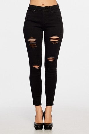 Enjean - High Rise Distressed Ankle Skinny Jeans