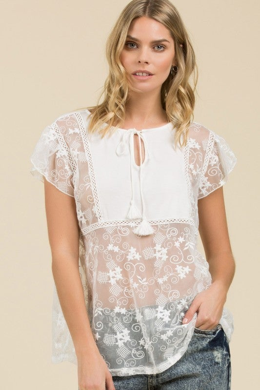 Orlando Pol Pre-Sale - Cap Sleeve Lace Top With Drawstring Neckline