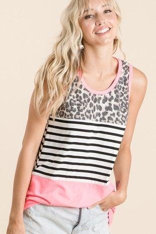 Vanilla Bay - Sleeveless animal print color block striped top