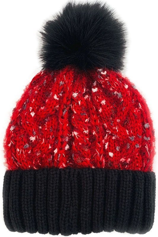 Camille & Co. - Cable knit beanie with pom pom