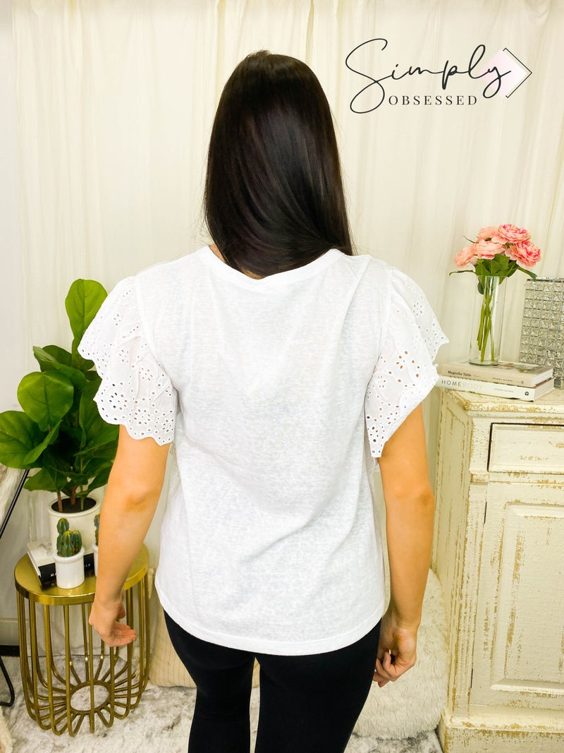 Hailey & Co - Casual eyelet trimmed short sleeve detail top