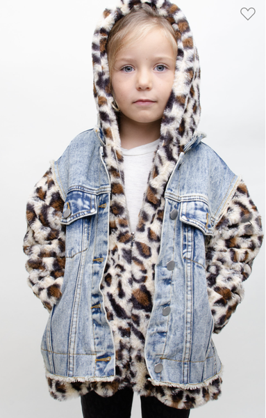 12PM By Mon Ami - Denim jacket with leopard fur(Kids Sizes)