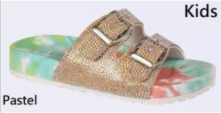 Lets See Style - Tie Dye rhinestones slip on slides for girls
