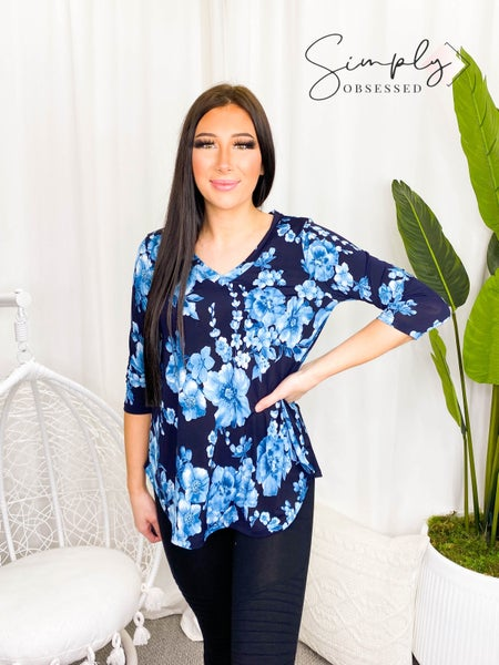 Sew In Love - Long sleeve floral v-neck top