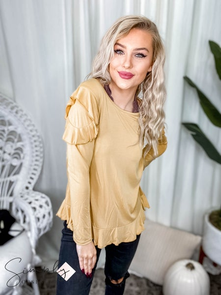 First Dibs Hailey & Co -  Washed cupro ruffle cold long sleeve top