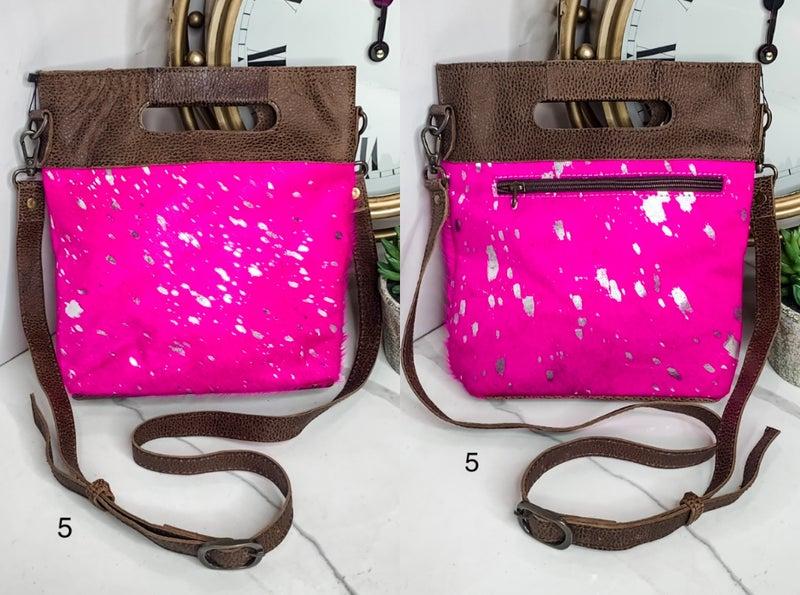AMERICAN DARLING-medium pink handbag with leather