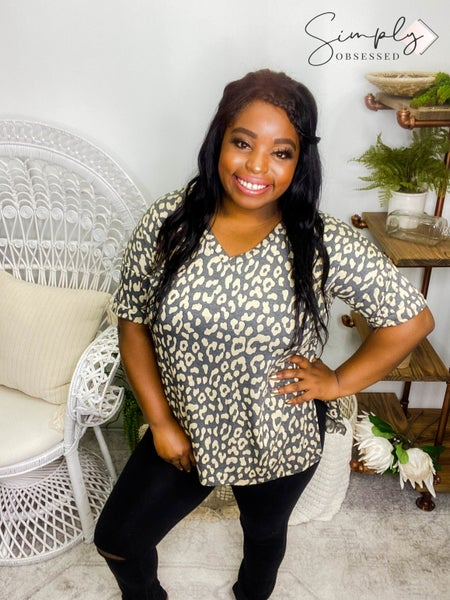 Sew In Love - Short sleeve animal print v-neck top with cuffed sleeves (plus)