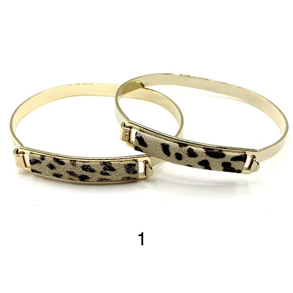 Snow Leopard Leather ID Tag