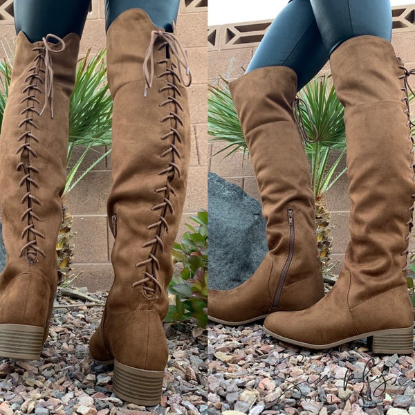 Soda - Lace up on back low heel boots