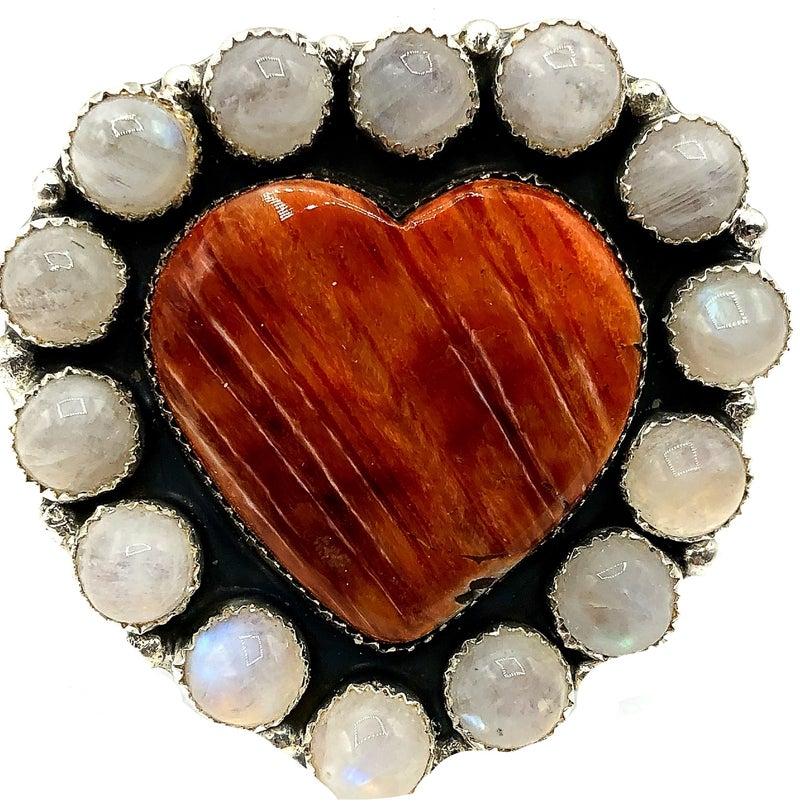M & S - Orange Spiny Heart W/Moonstone Ring