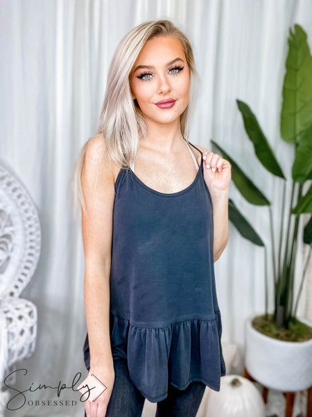 Eesome - Solid racer back camisole top with spaghetti strap and bottom shirring