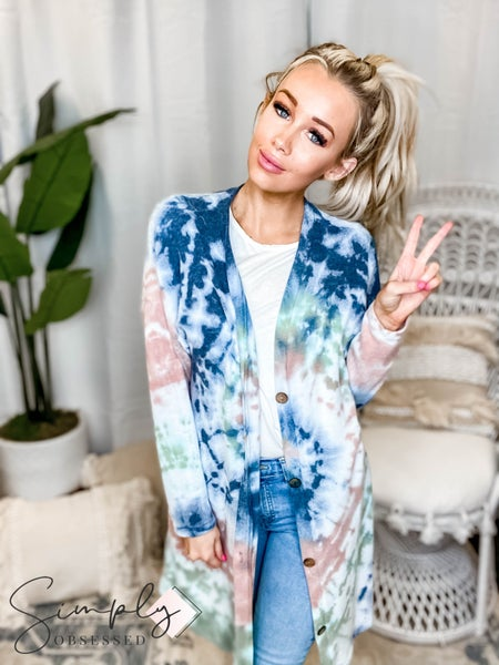 143 Story - Cashmere Feel Circular Garment Tie Dye Button Cardigan