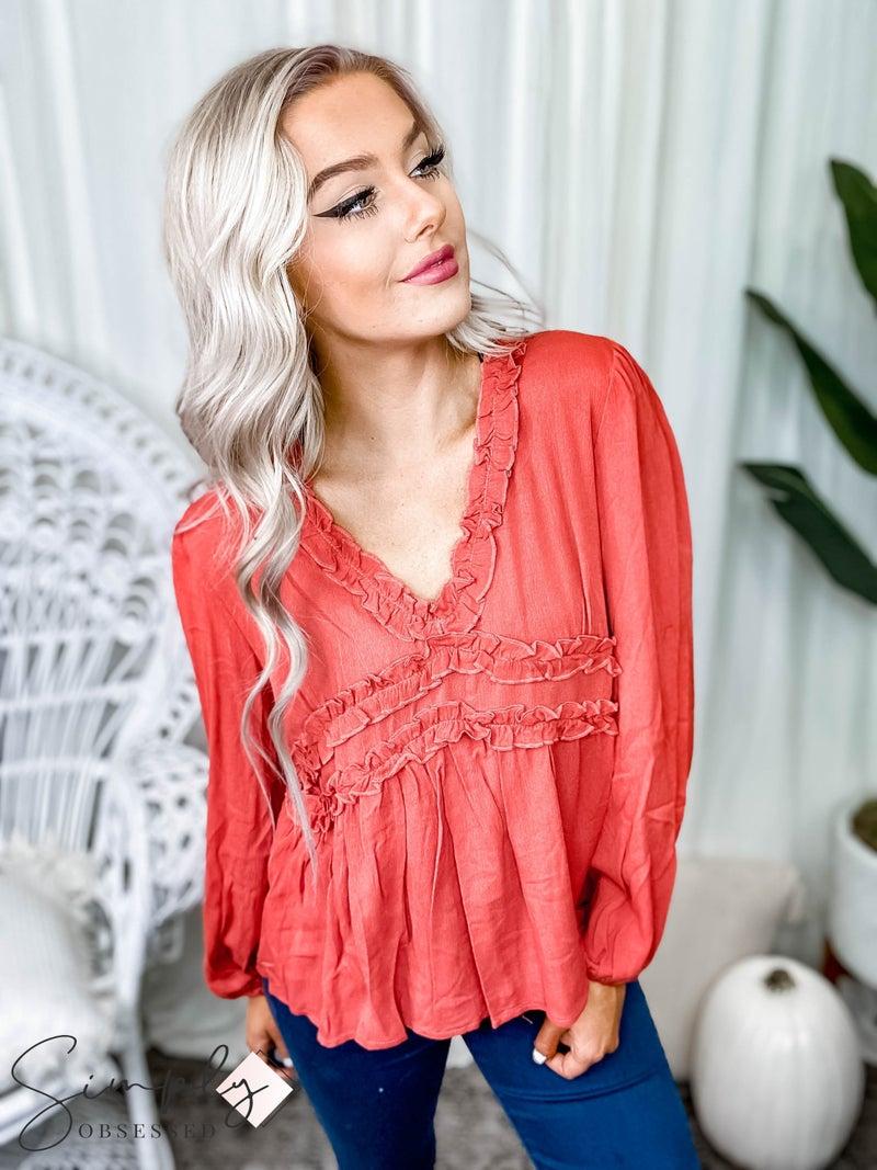 Peach Love California - Long sleeve frilled ruffle blouse