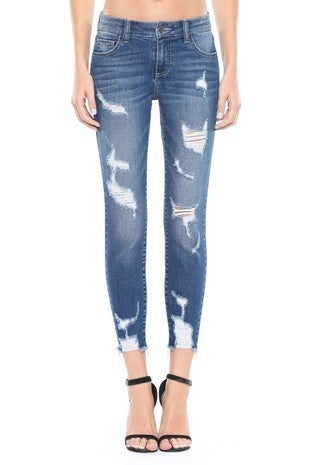 Cello Jeans - Mid rise distressed cropped skinny jeans (plus size)