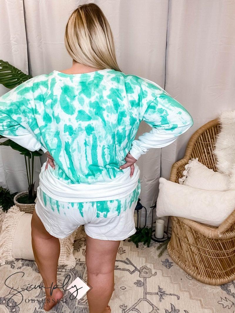 Kori -  Dip Tie Dye Set, Sweater and Drawstring Shorts