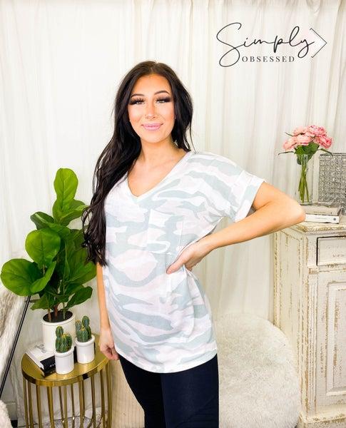 Sew In Love - Short sleeve soft camo v-neck w/ pocket