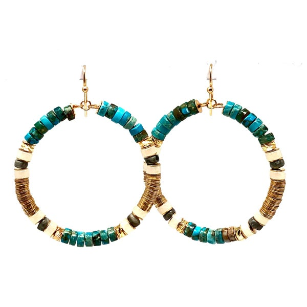 Small Beaded Hoop earrings with Gold and turquoise colored beads