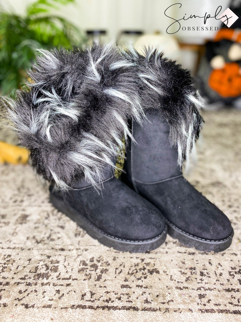 Bamboo - Round toe casual fur snow boots