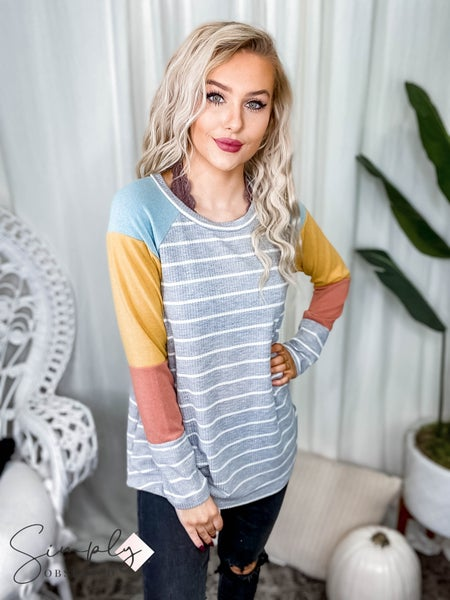 First Dibs Hailey & Co - Yarn dye striped thermal & heavy rayon spandex color block long sleeve top