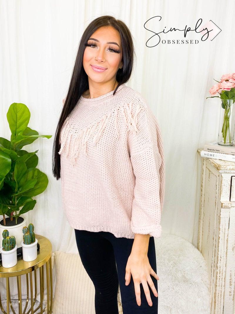 KyeMi - Oversized round neck pullover sweater w/ fringe