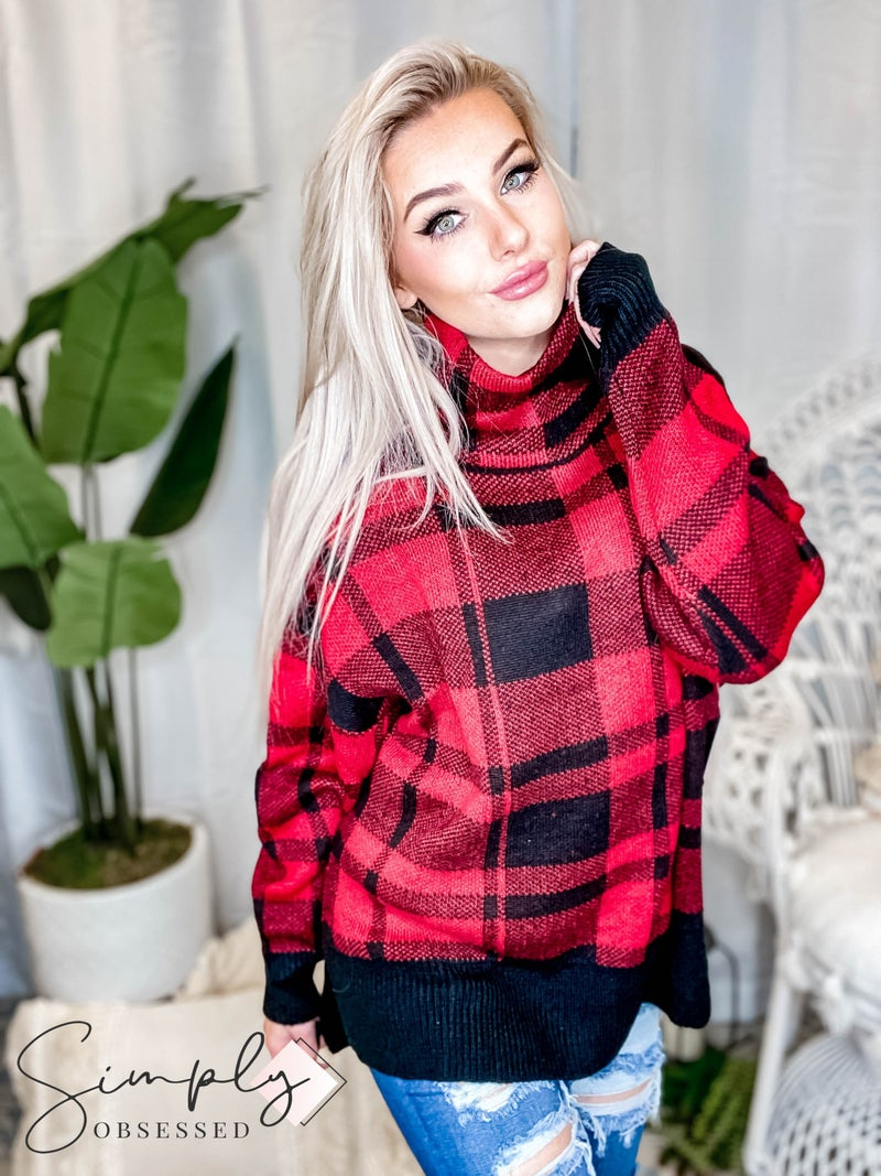 Camille & Co - Plaid Long Sleeve Turtle Neck Sweater