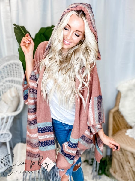 EASEL-Knit hooded open sweater with fringed bottom