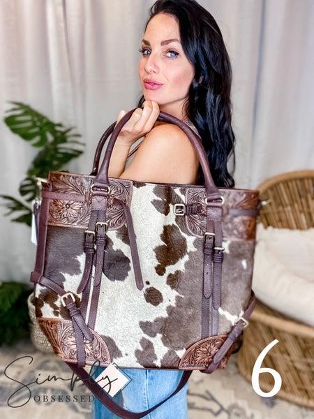 American Darling - Cowhide Tote Bag w/Saddle Strap Detail