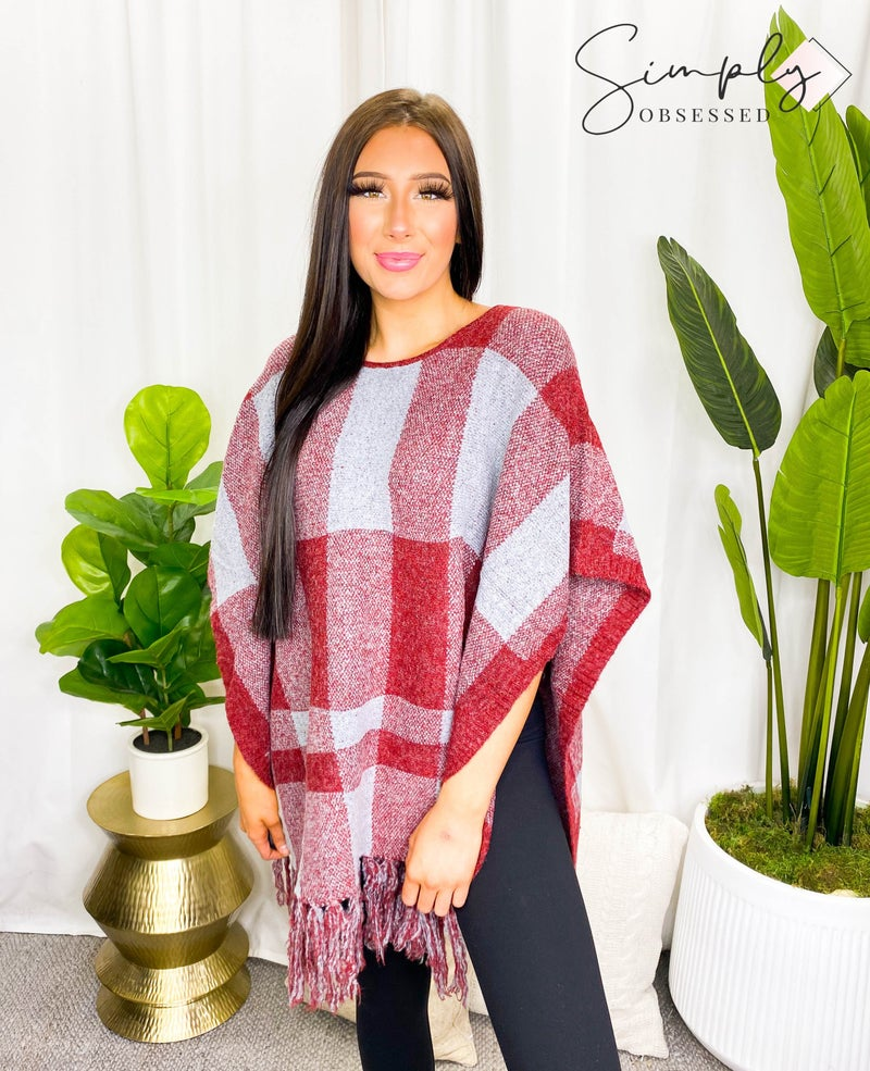 OceanUs - Checkered fringe poncho sweater