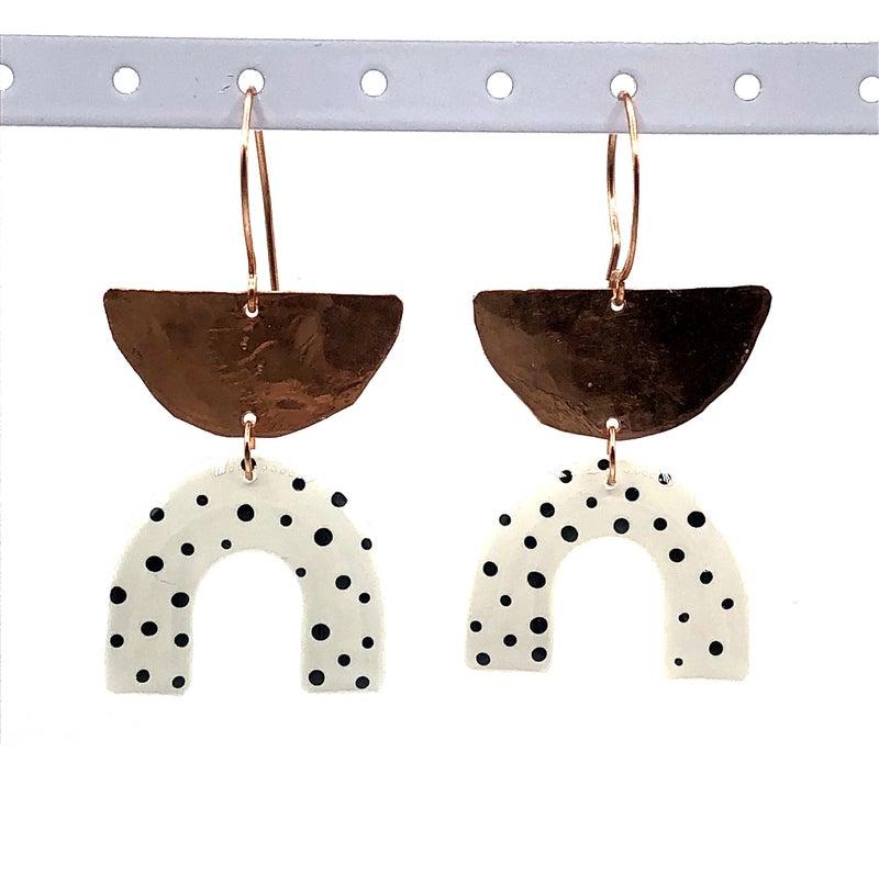 Clay N' Wire - Copper & Polka Dot Earring