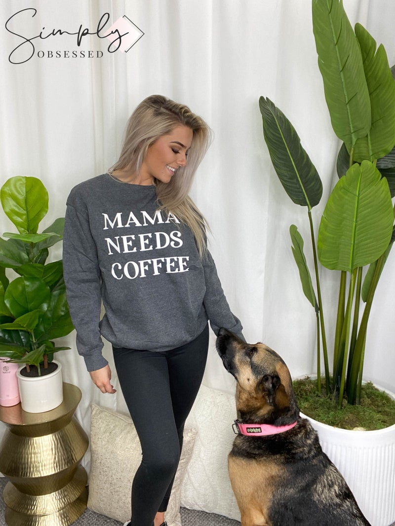 """ePretty - """"Mama Needs Coffee"""" Long sleeve graphic top (all sizes)"""