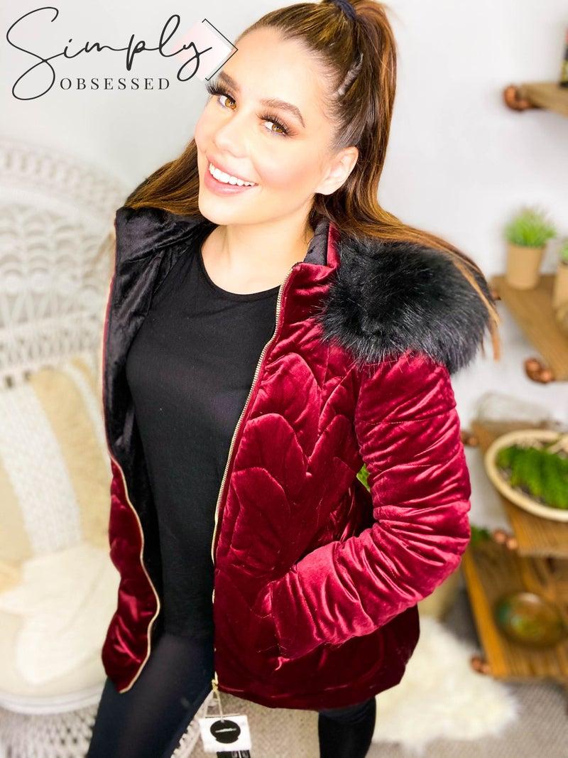 Coalition - Mid length hooded velvet quilted coat