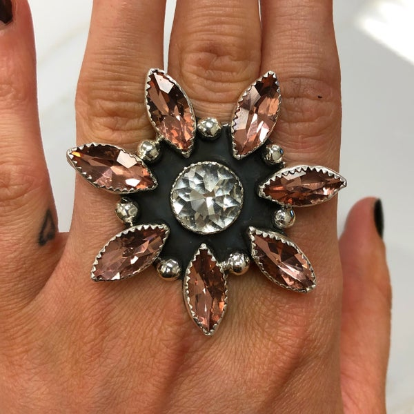 M&S Sterling Silver - Peach/Clear Diamante Flower Ring