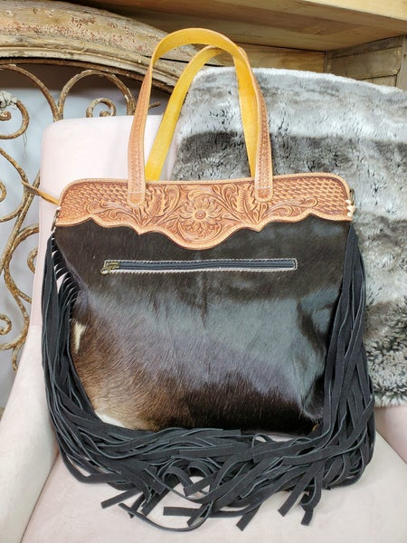American Darling - Large crossbody purse with fringe and hand crafted leather