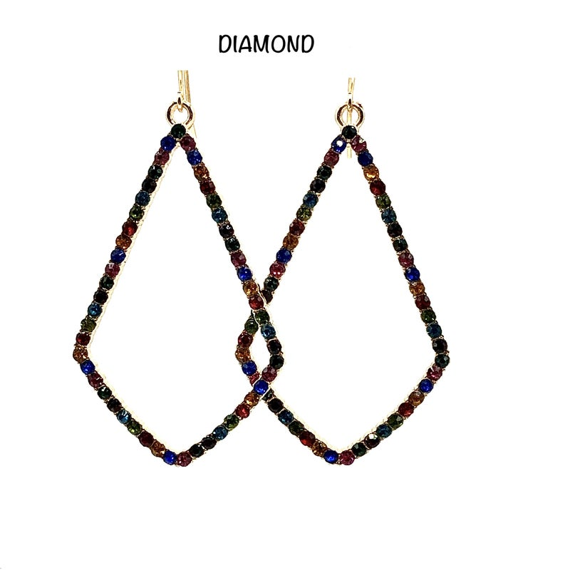 Multi Colored CZ French Clasp Earrings