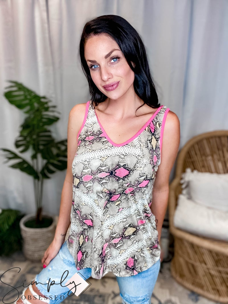 Mittoshop - Neop Pop Snake Print Cami with Round V-Neck