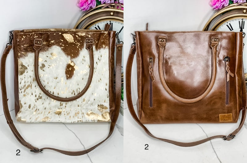 AMERICAN DARLING-LARGE LEATHER BAG WITH COWHIDE ACID WASH