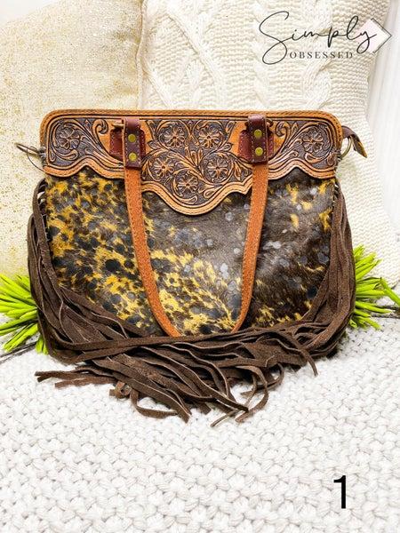 American Darling - Leather work medium bag with fringe