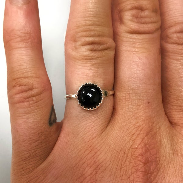 M&S Sterling Silver - Round Black Onyx Ring