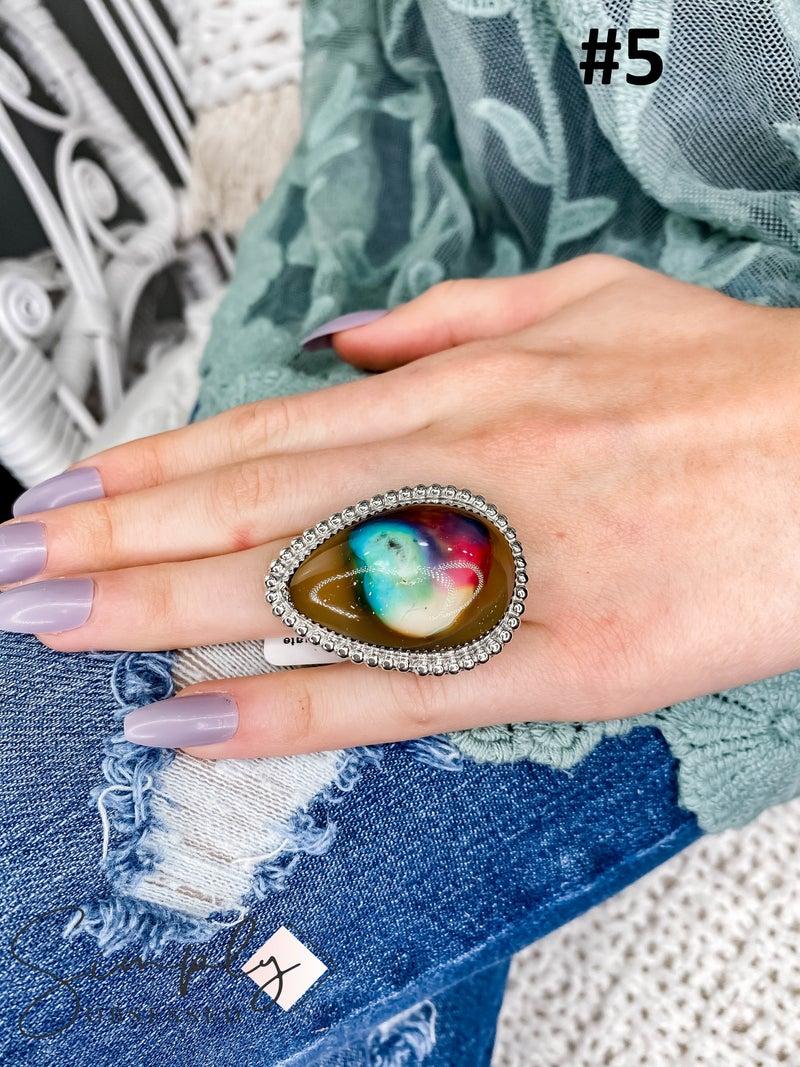 M & S - Rainbow Agate Ring
