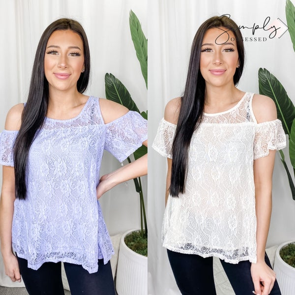 American Fit - Solid lace open shoulder top with back keyhole detail
