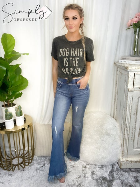 C'est Toi - Frayed high rise elastic waist flare jeans