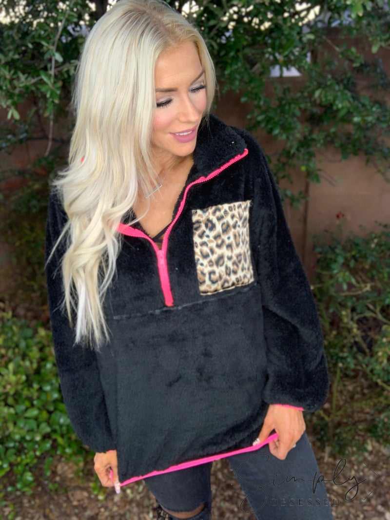 Wanna B- Fuzzy pullover with leopard pocket and zipper