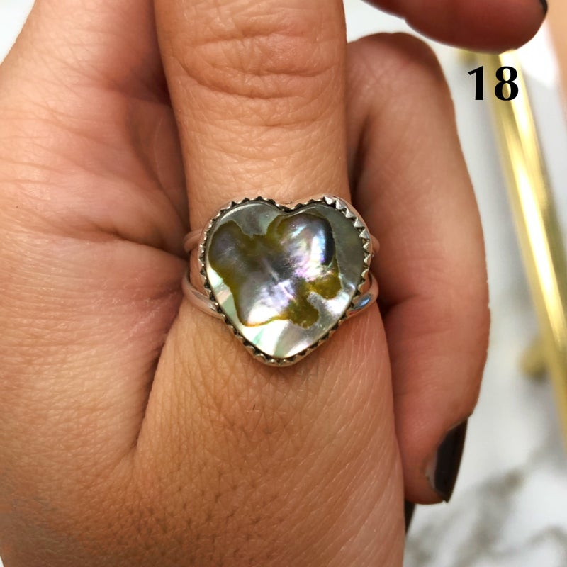 M&S Sterling Silver - Abalone Heart Ring
