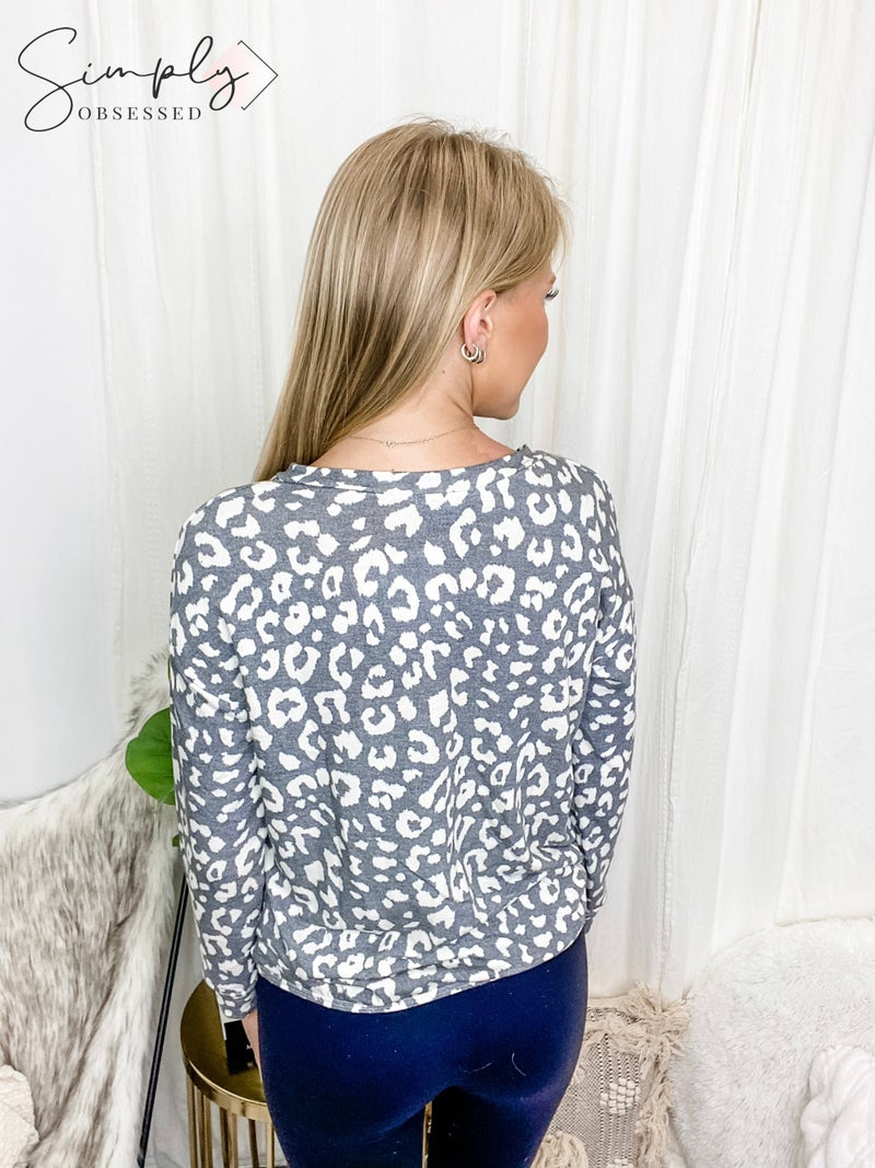 White Birch - Cheetah print knit long sleeve top